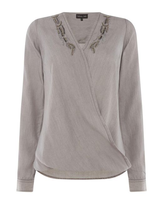Label Lab - Gray Laurie Beaded Wrap Blouse - Lyst
