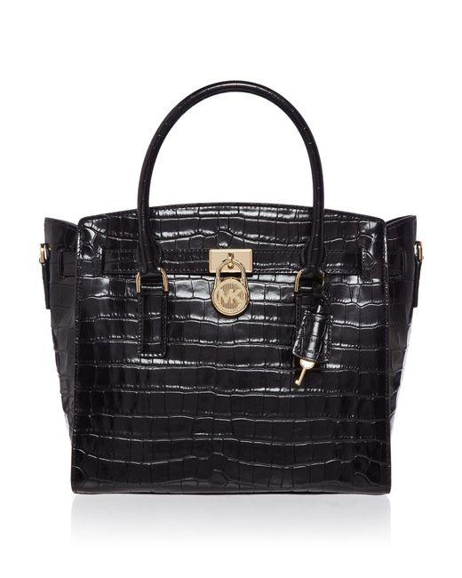 Michael Kors   Black Hamilton Large Croc Satchel Bag   Lyst