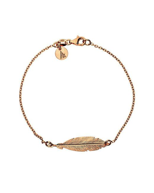 Azendi - Metallic Rose Gold Vermeil Feather Bracelet - Lyst