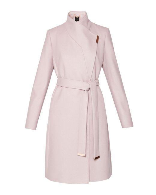 Ted Baker | Pink Kikiie Cashmere-blend Wrap Front Coat | Lyst