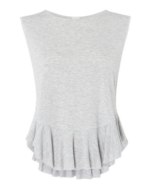Free People | Gray Uptown T-shirt With Frill Hem Detail | Lyst