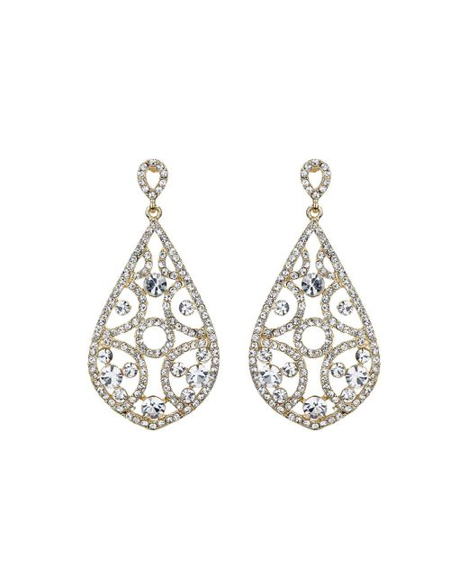 Mikey | Metallic Filigree Crystals Oval Design Earring | Lyst