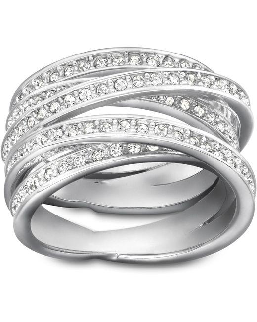 Swarovski - Metallic Spiral Ring - Lyst