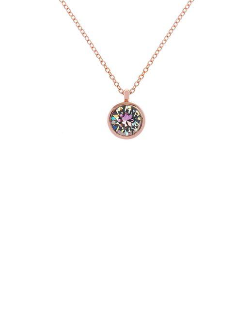 Karen Millen - Metallic Rose Gold & Lilac Crystal Dot Necklace - Lyst