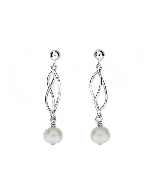 Azendi - Metallic Silver & Pearl Spirals Earrings - Lyst