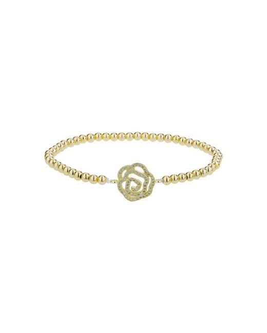 Mikey - Metallic Daisy Crystal Flower Elastic Bracelet - Lyst