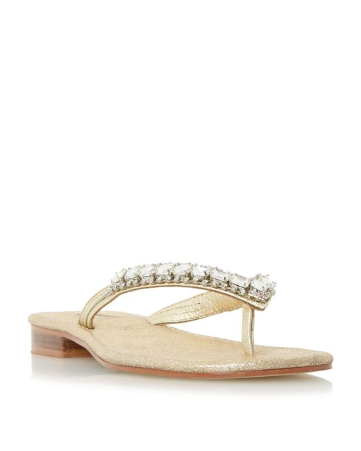 Dune | Natural Nevah Diamante Toe Post Flat Sandals | Lyst