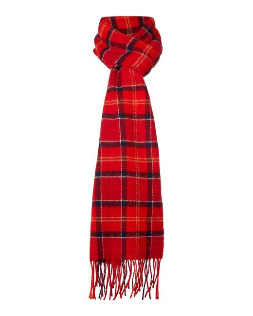 Barbour | Red Tartan Lambswool Scarf for Men | Lyst