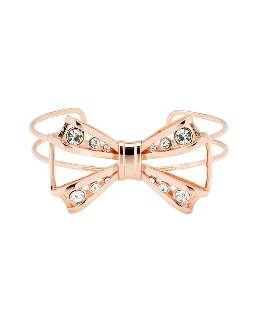 Ted Baker | Metallic Josz Rose Gold Jewelled Bow Cuff | Lyst