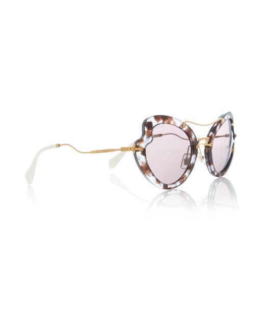 Miu Miu - Multicolor Lilac Irregular 0mu 11rs Sunglasses - Lyst