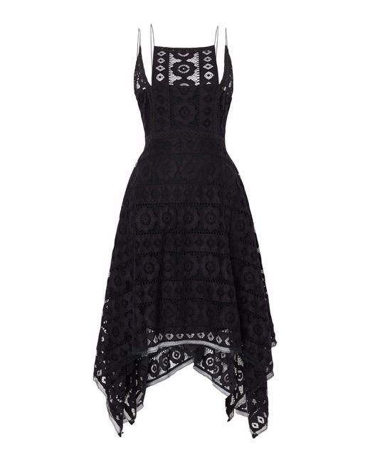 Free People   Black Just Like Honey Lace Dress With Hankerchief Hem   Lyst