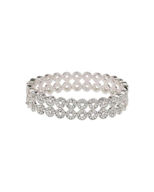 Mikey - White Circle Cubic Embed Link Bangle Bracelet - Lyst