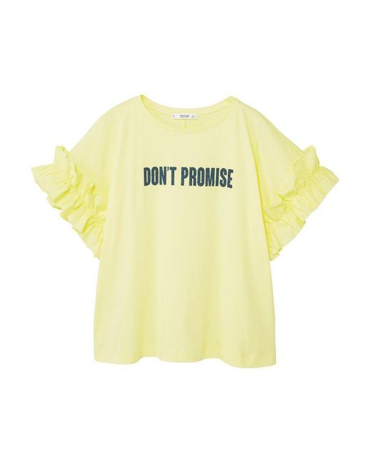 Mango | Yellow Ruffled Message T-shirt | Lyst
