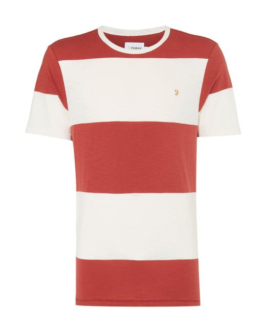 Farah | Red Woolacombe Striped Tshirt for Men | Lyst