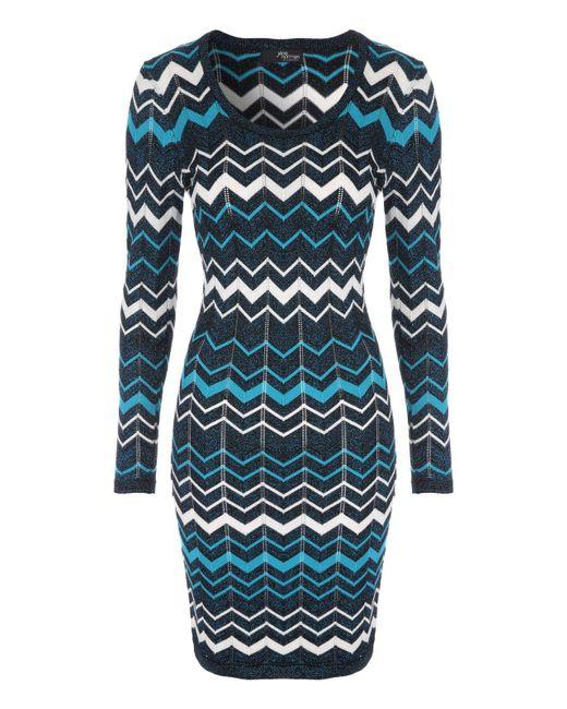 Jane Norman   Blue Chevron Jumper Dress   Lyst