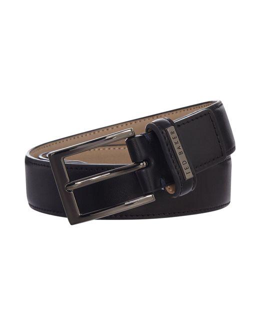 Ted Baker | Black Leather Keeper Plate Belt for Men | Lyst