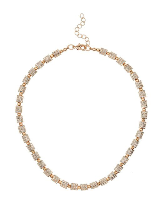 Mikey - Metallic London Small Cylinder Crystal Bead Necklace - Lyst