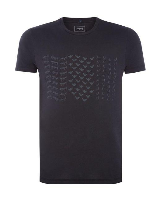 Armani Jeans | Blue Men's Eagles Print Crew Neck T-shirt for Men | Lyst