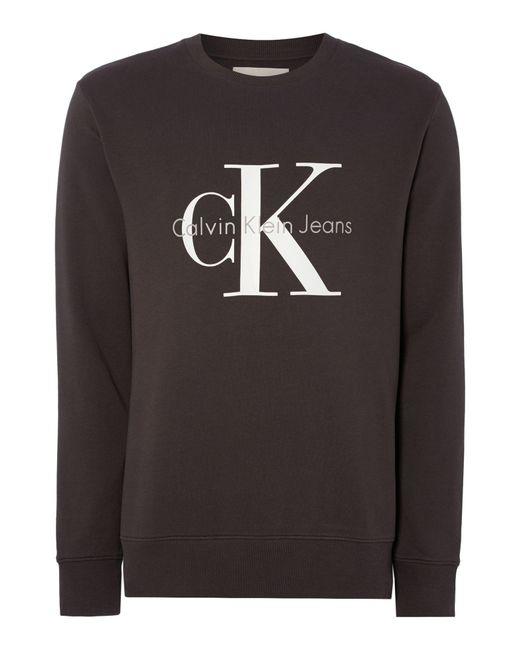 Calvin Klein   Gray Crew Neck Hwk Crew Sweater for Men   Lyst