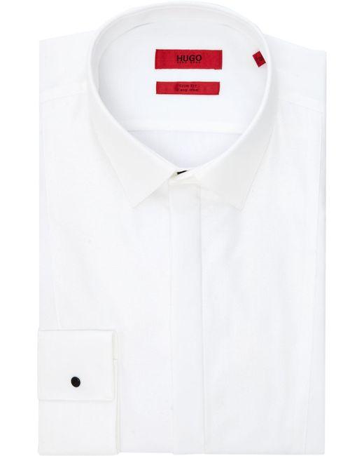 HUGO - White Men's Slim Fit Contrast Bib Dinner Shirt for Men - Lyst