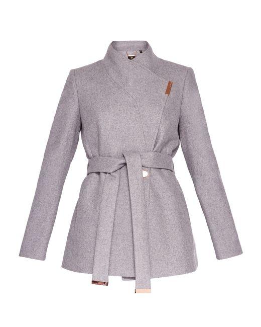 Ted Baker | Gray Keyla Short Wrap Cashmere-blend Coat | Lyst