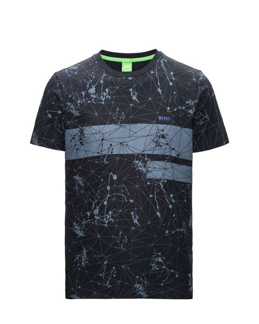 BOSS Green | Black Regular-fit Printed T-shirt In Single Jersey for Men | Lyst