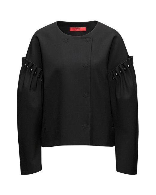 HUGO - Black Oversized-fit Jacket With Pearl Embellishments - Lyst