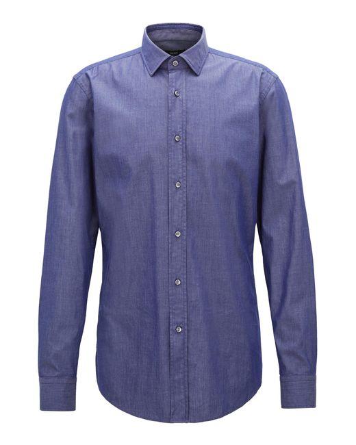 BOSS - Blue Slim-fit Shirt In Denim-inspired Stretch Twill for Men - Lyst