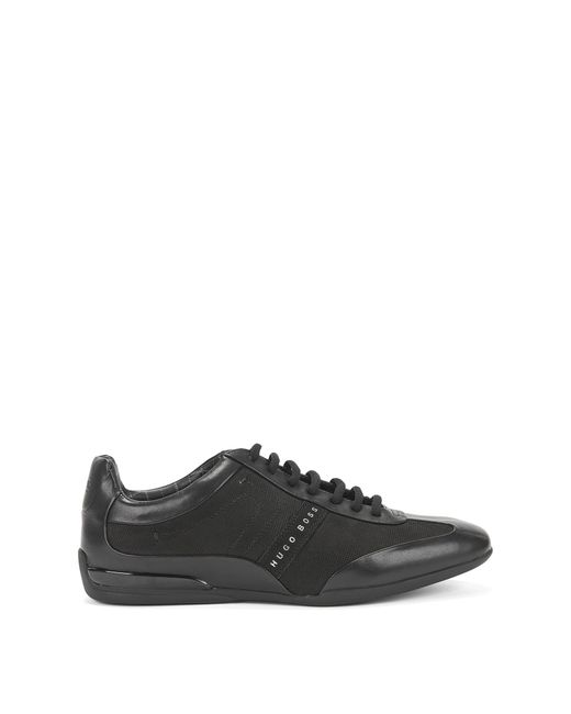 BOSS | Black Leather-mix Trainers: 'space Select' for Men | Lyst