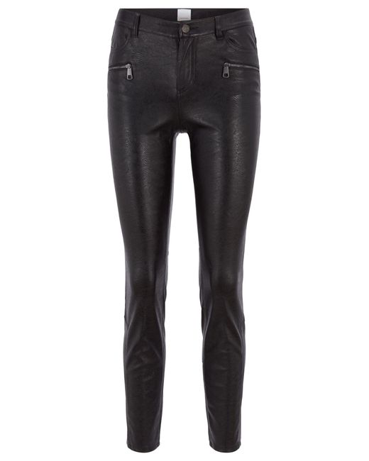 BOSS - Black Slim-fit Trousers In Faux Leather With Zip Details - Lyst