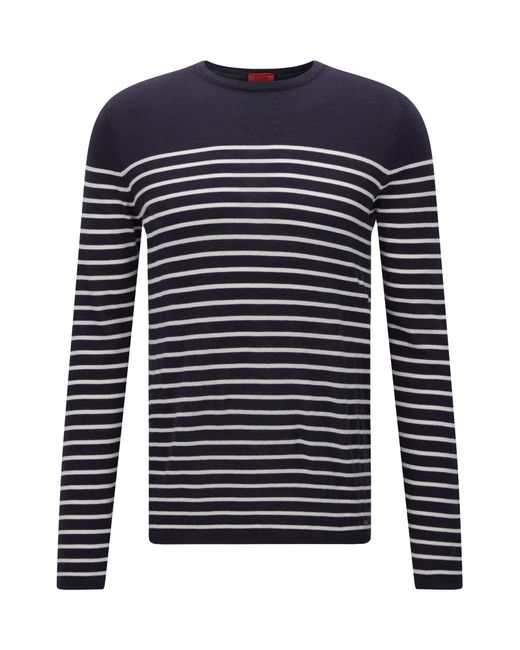 HUGO | Blue Slim-fit Sweater With Nautical Stripe for Men | Lyst