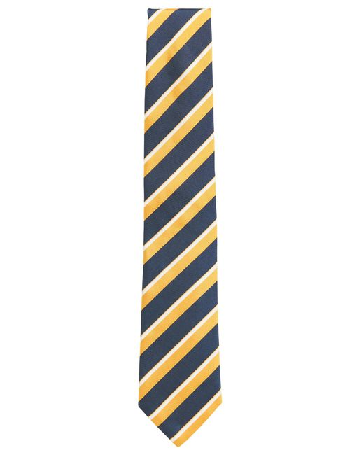 BOSS - Yellow Striped Italian Silk Repp Tie for Men - Lyst