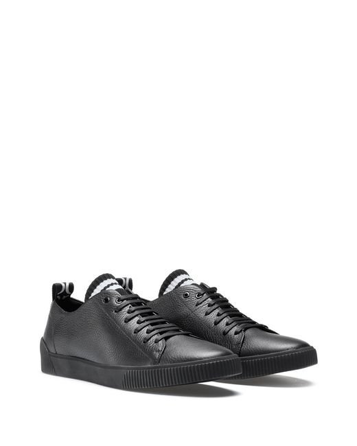 e14aa103342 ... HUGO - Black Sneakers In Grained Leather With Original Lace-up Design  for Men ...