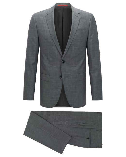 HUGO | Gray Slim-fit Graph Check Suit In Yarn-dyed Virgin Wool for Men | Lyst