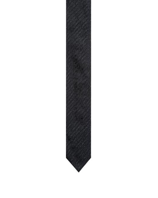 HUGO - Black Logo-patterned Tie In Silk Jacquard for Men - Lyst