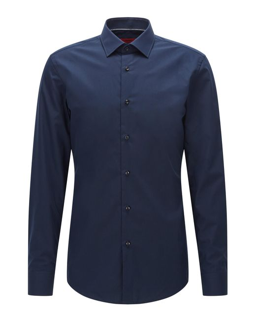 HUGO | Blue Slim-fit Shirt In Smooth Cotton for Men | Lyst