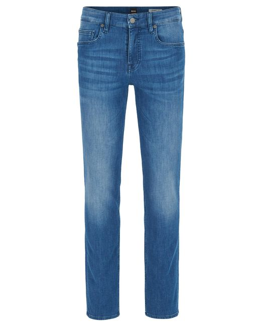 BOSS - Blue Slim-fit Jeans In Spanish-knit Stretch Denim for Men - Lyst