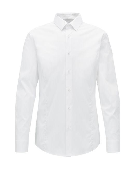 BOSS | White Slim-fit Shirt In Stretch Poplin for Men | Lyst