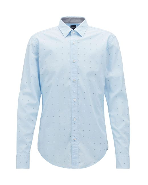 BOSS - Blue Slim-fit Shirt In Pure Cotton With Fil Coupé for Men - Lyst