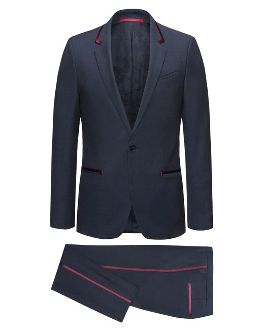 HUGO | Blue Extra-slim-fit Tuxedo Suit In Virgin Wool Crepe With Silk Trims for Men | Lyst