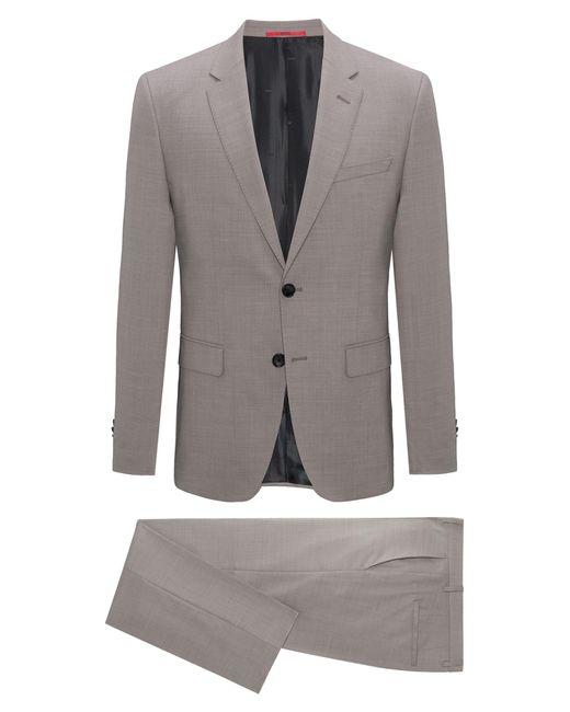HUGO - Natural Regular-fit Suit In Structured Virgin Wool for Men - Lyst