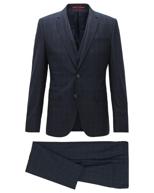 HUGO | Blue Windowpane Extra-slim-fit Three-piece Suit In Virgin Wool for Men | Lyst