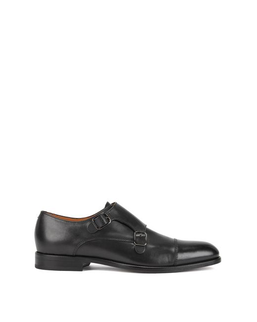 BOSS - Blue Double-monk Shoes In Smooth Calf Leather for Men - Lyst