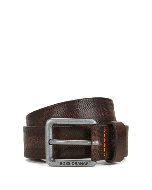 BOSS Orange   Brown Embossed-leather Belt With Pin Buckle for Men   Lyst