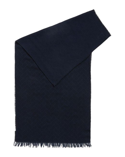 BOSS - Blue Jacquard Scarf In Soft Cotton for Men - Lyst