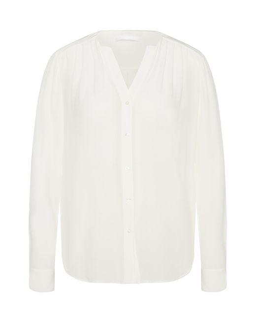 BOSS - White Robika Pleated Silk Blouse - Lyst
