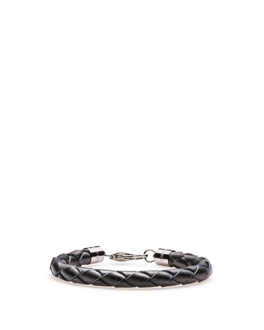 HUGO - Black Braided Bracelet In Italian Leather for Men - Lyst