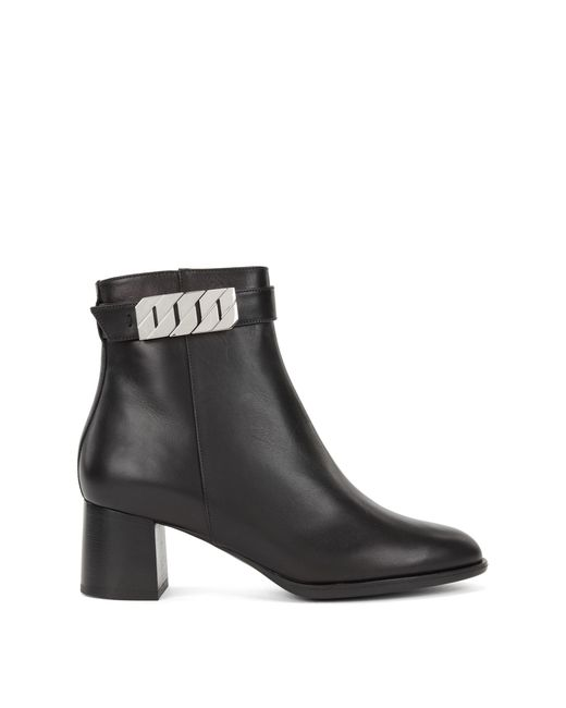 BOSS - Black Ankle Boots In Italian Calf Leather With Chain Detailing - Lyst