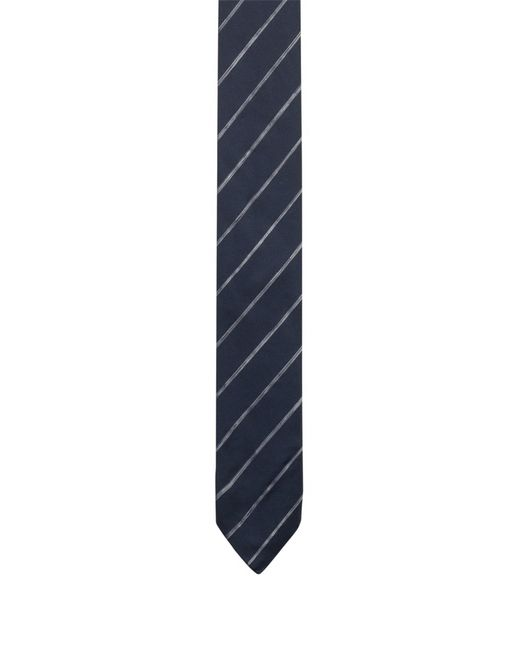 HUGO - Blue Silk Jacquard Tie With Faded Diagonal Stripes for Men - Lyst