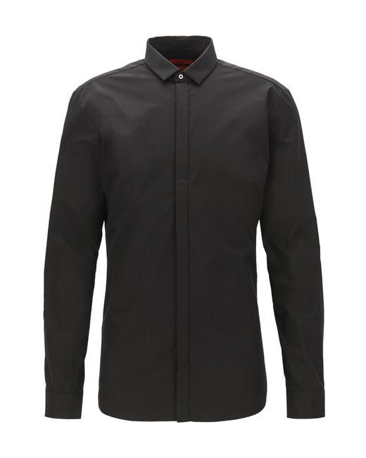 HUGO | Black Extra-slim-fit Cotton Shirt With Concealed Placket for Men | Lyst